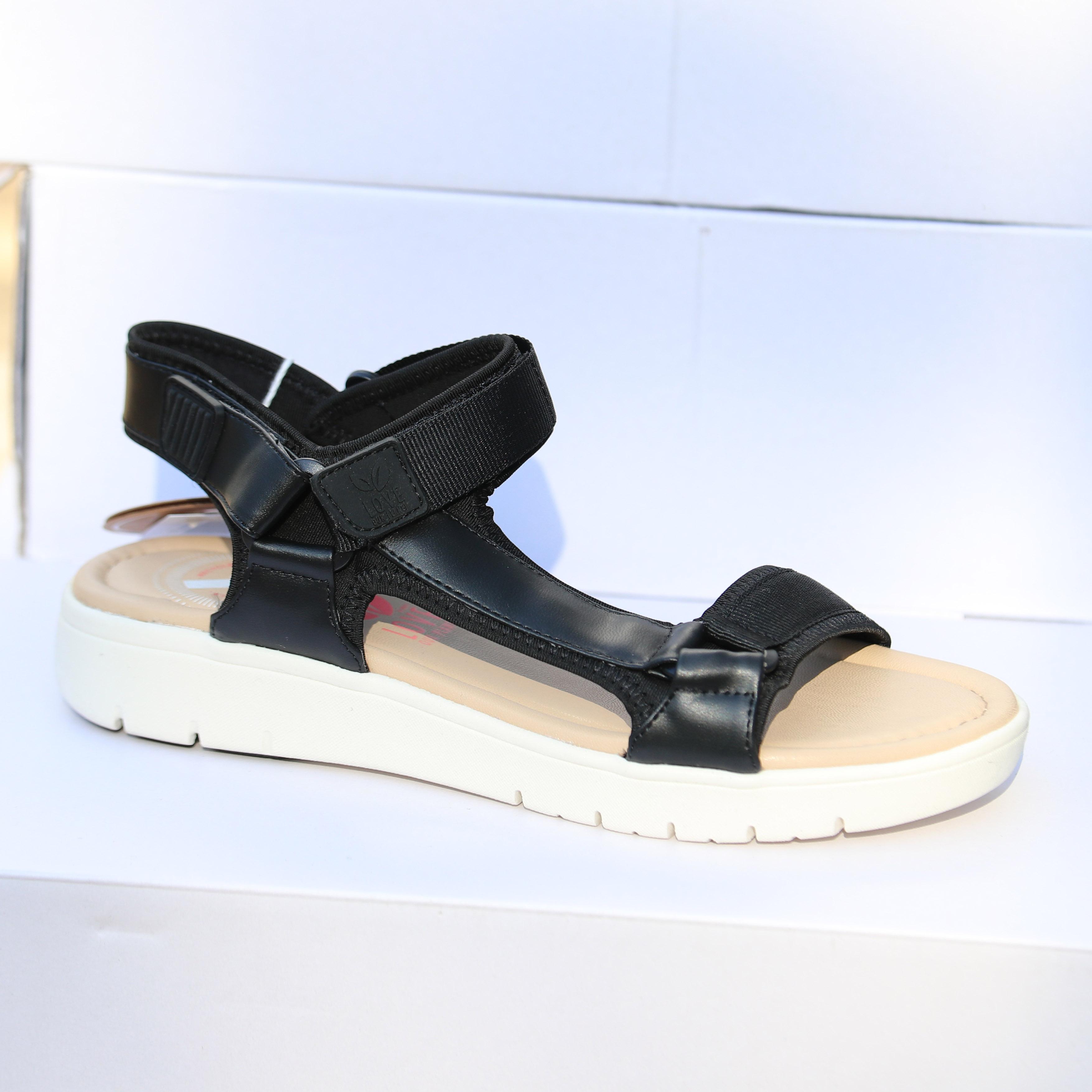 love our planet isabel black sandal dame2