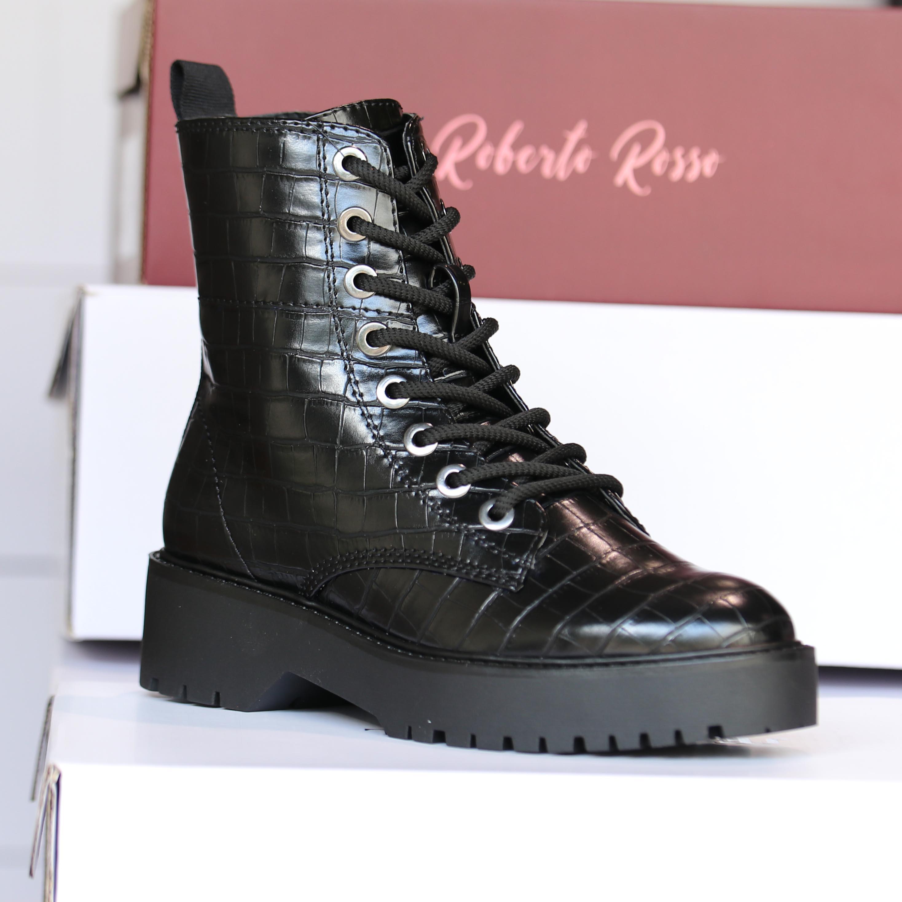 roberto rosso – gavazzi black croco boots dame høst1