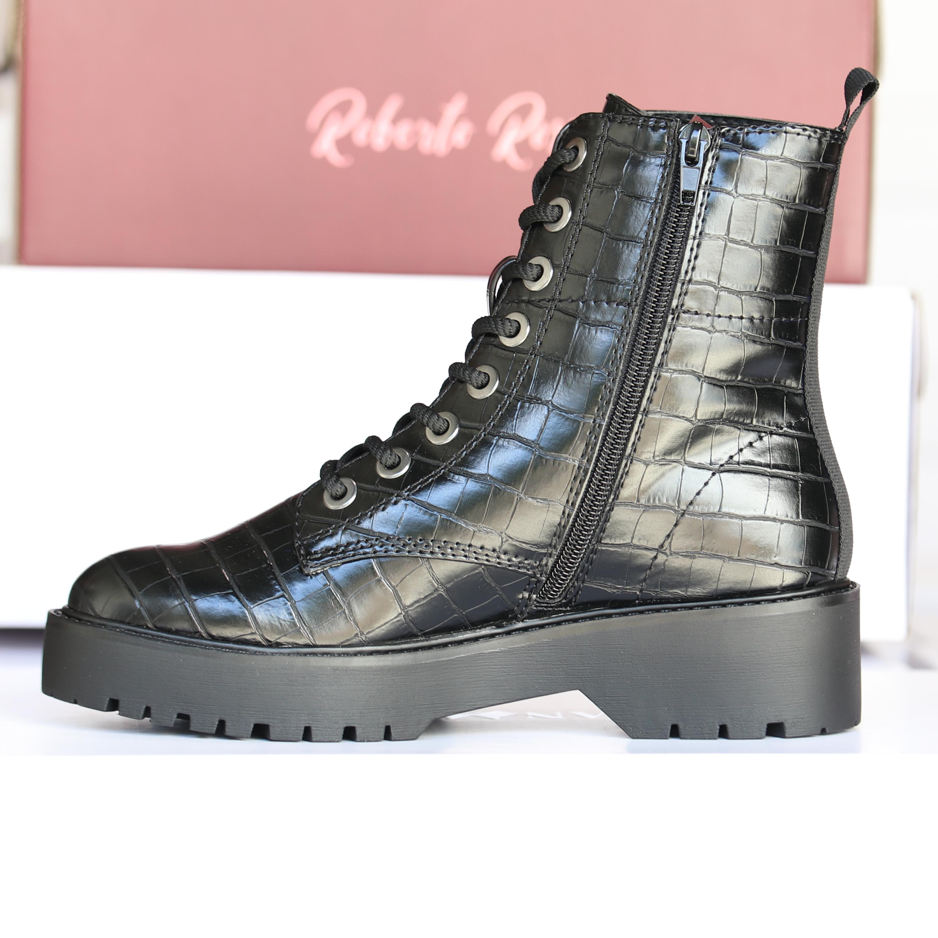 roberto rosso – gavazzi black croco boots dame høst4