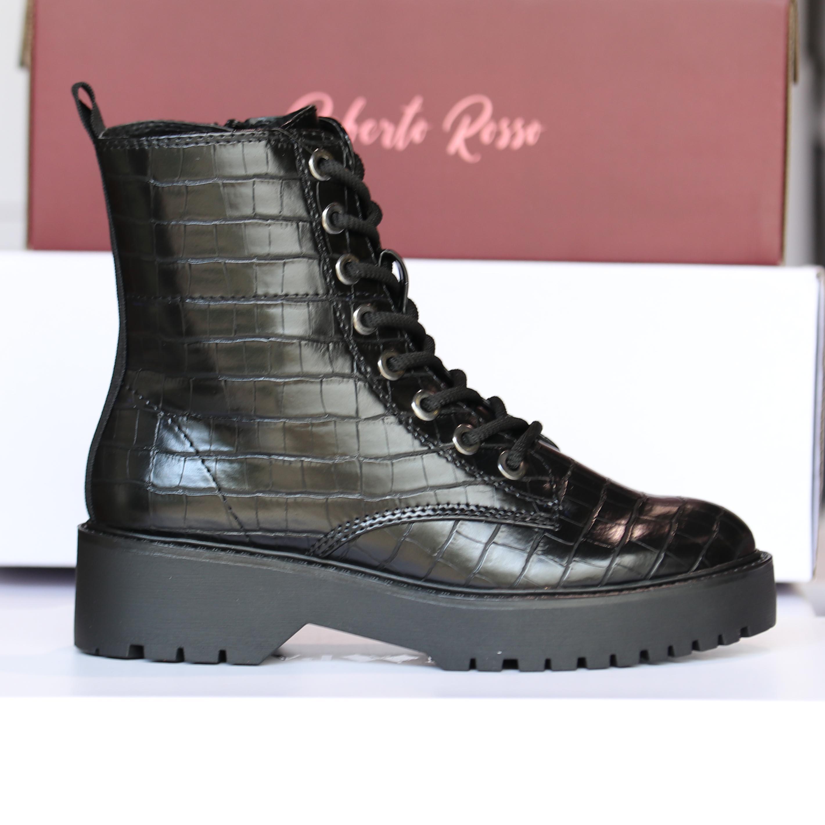 roberto rosso – gavazzi black croco boots dame høst5